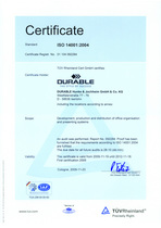 Durable's iso certificates